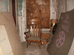 This picture is recent. The chair has moved (how, or by whom, I won't venture to say for sure).