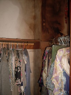 Closet Back Room, Vintage Dresses, Messy Plaster Roof Chimney Leak - Farm House - August 2009