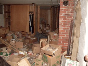 Big Basement Room, Messy, Including Chimney, Closet, and View into Billy's Room - September 2009