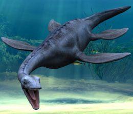 plesiosaur alone free swimming