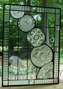 Cut-Glass Plates Window, Cascading Pattern Vertical