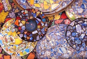 Mosaic Glass Plates Window Design, Blue-ish