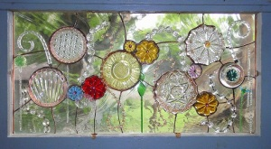 Recycled Plates Window, Sphere Flower Design