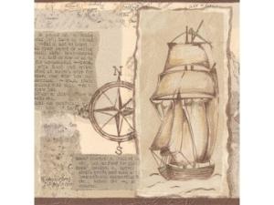 Wallpaper Border, Ship and Compass